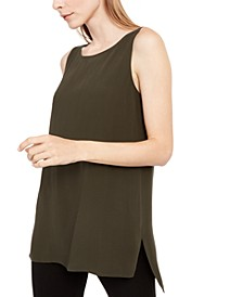 Sleeveless High-Low Silk Top