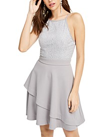 Juniors' Sparkle-Embellished Halter Dress, Created for Macy's