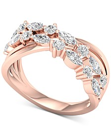 Diamond Overlap Statement Ring (1 ct. t.w.) in 14k Rose Gold