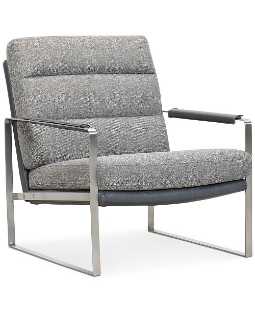 """Furniture Mattley 28"""" Fabric Steel Frame Chair, Created For Macy's"""