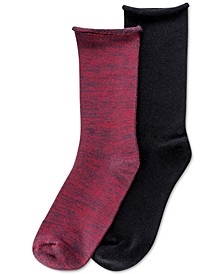 Women's 2 Pack Super Soft Roll-Top Boot Socks