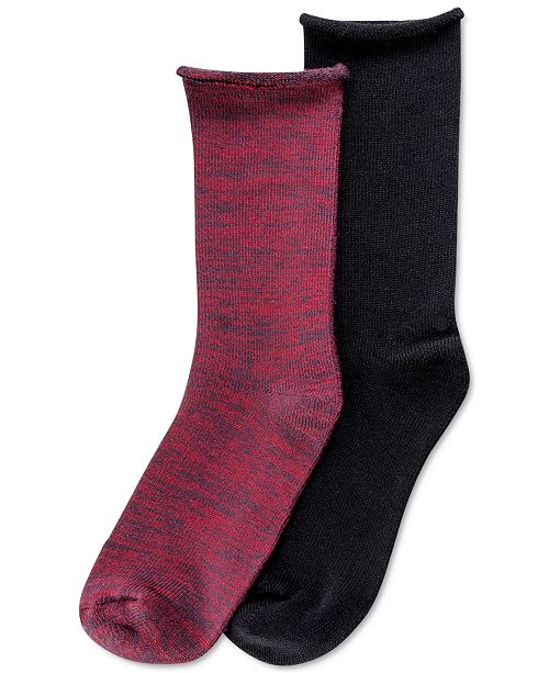 Hue Women's 2 Pack Super Soft Roll-Top Boot Socks