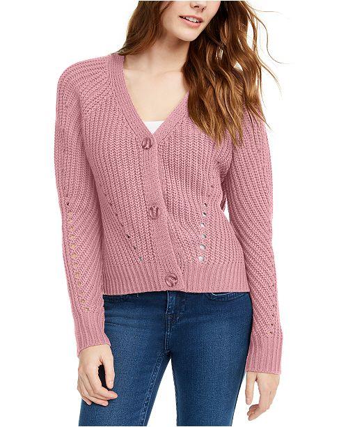Pink Rose Juniors' Eyelet Cardigan Sweater