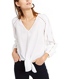 INC Eyelet Tie-Front Top, Created For Macy's