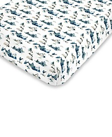 Mountain Watercolor Fitted Mini Crib Sheet