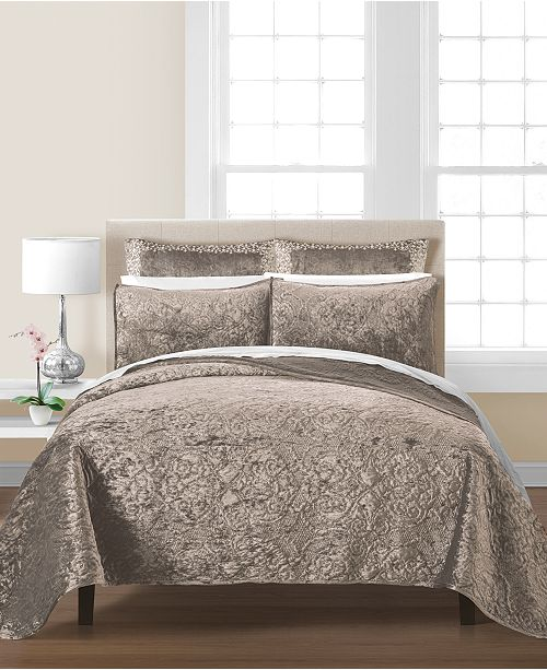 Martha Stewart Collection CLOSEOUT! Velvet Flourish Twin Quilt, Created for Macy's