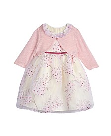 Little Girls London Floral Organza Print Dress with Shrug