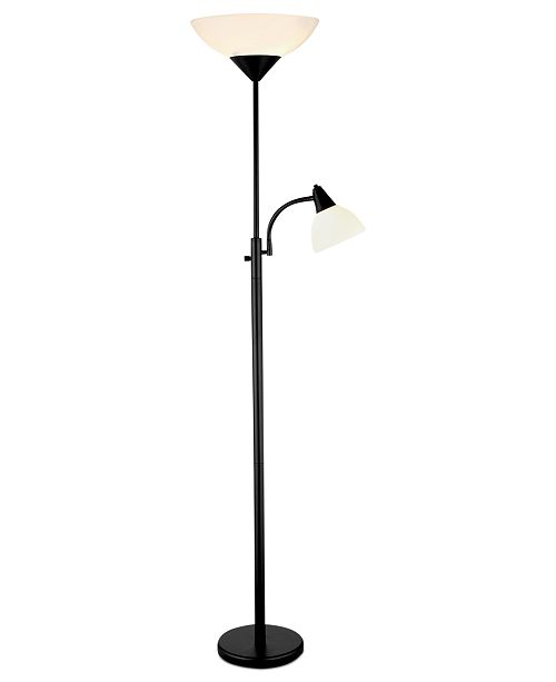 Adesso piedmont black torchiere floor lamp lighting lamps home main image main image aloadofball Images