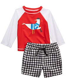 Baby Boys 2-Pc. Seagull Rash Guard & Swim Trunks Set, Created for Macy's