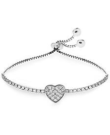 Children's Cubic Zirconia Heart Friendship Bracelet in Sterling Silver