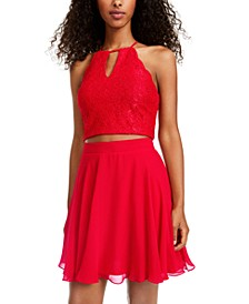Juniors' 2-Pc. Glitter Lace & Chiffon Dress