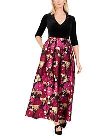 Velvet & Floral-Print Gown