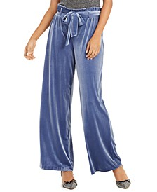 INC Velvet Wide-Leg Paperbag Pants, Created For Macy's