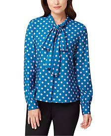 Dot-Print Tie-Neck Button-Up Blouse