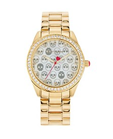 Women's Skull Pattern Dial Gold Tone Metal Bracelet Strap Watch 40Mm