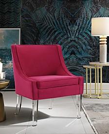 Aurelie Velvet Accent Chair with Acrylic Legs