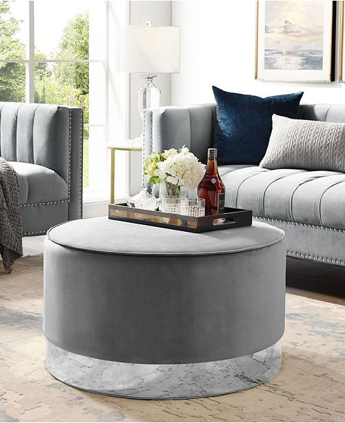 Nicole Miller Apoplline Upholstered Cocktail Ottoman with Metal Base