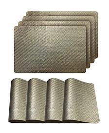 "Metallic Basketweave Parquet Slip Resistant 12"" x 18""  Placemats - Set of 4"