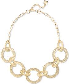 "Gold-Tone Resin Glitter Interlocking Ring Statement Necklace, 18-1/2"" + 3"" extender"
