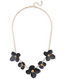 """18k Gold-Plated Painted Flower Statement Necklace, 17-1/2"""" + 2"""" extender"""