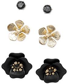 18k Gold-Plated 3-Pc. Set Flower-Inspired Stud Earrings