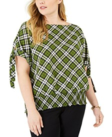 Plus Size Plaid Tie-Sleeve Top