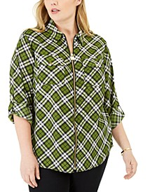 Plus Size Plaid Zip-Front Shirt