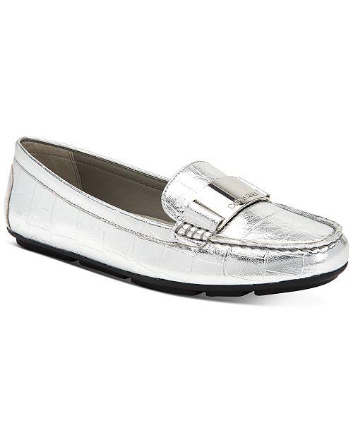Calvin Klein Women's Lisette Croc-Embossed Flats