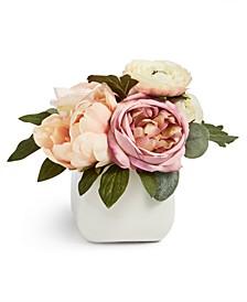 English Garden Ranunculus Artificial Arrangement in Ceramic Vase, Created for Macy's