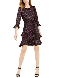 Tiered Ruffled Polka-Dot Dress