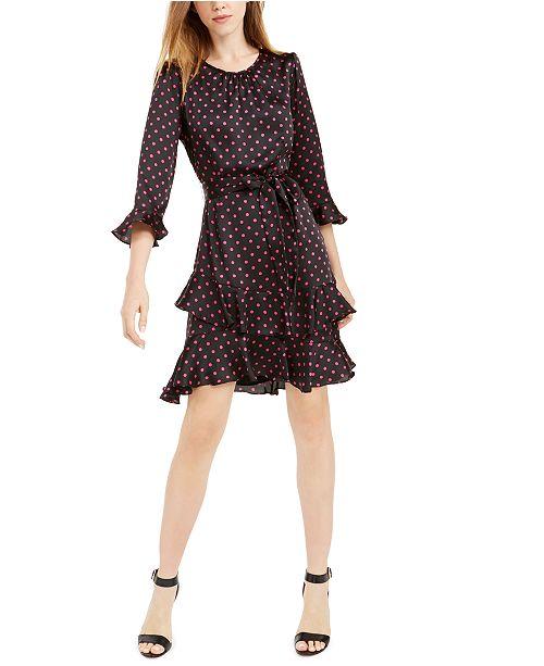 CeCe Tiered Ruffled Polka-Dot Dress
