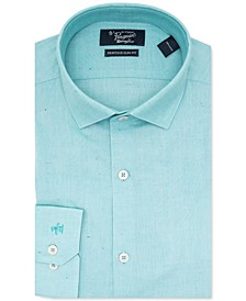 Men's Heritage Slim-Fit Performance Stretch Light Green Solid Dress Shirt