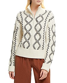 Susa Cable-Knit Zip-Neck Sweater