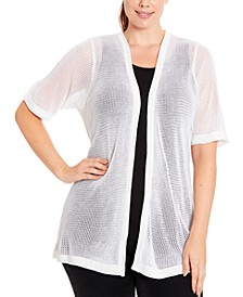 Plus Size Mesh Knit Cardigan
