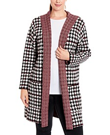 Plus Size Houndstooth Hooded Coatigan