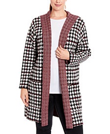 Joseph A Plus Size Houndstooth Hooded Coatigan