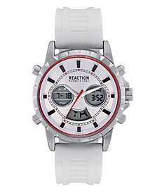 Men's White Silicon Strap Analog-Digital Watch, 46mm