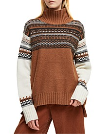 Turtleneck Fair Isle Knit Sweater