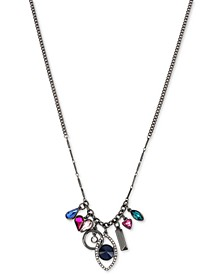 "Hematite-Tone Multi-Crystal Evil Eye Statement Necklace, 36"" + 3"" extender"