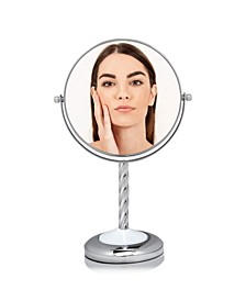 "7"" Dual Sided Tabletop Makeup Mirror with LED"