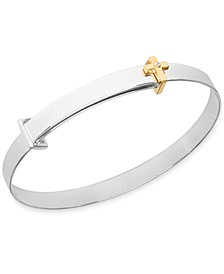 Children's Diamond Accent Cross Expander Bangle Bracelet in Sterling Silver and 14K Gold over Sterling Silver