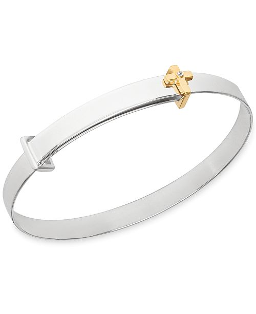 Rhona Sutton Children's Diamond Accent Cross Expander Bangle Bracelet in Sterling Silver and 14K Gold over Sterling Silver