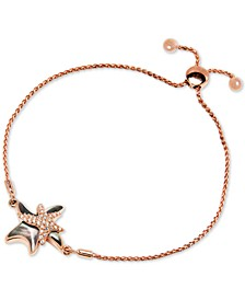 Black Mother-of-Pearl & White Sapphire (1/3 ct. t.w.) Starfish Bolo Bracelet in Rose Gold-Plated Sterling Silver