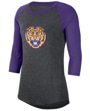 Nike Women's Lsu Tigers Logo Raglan T-Shirt