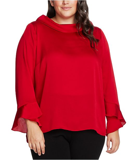 Vince Camuto Plus Size Mock-Neck Bell-Sleeve Top