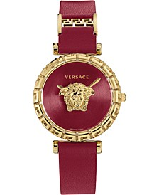 Women's Swiss Palazzo Empire Greca Red Leather Strap Watch 37mm
