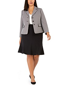 Plus Size Tweed Skirt Suit