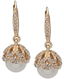 Gold-Tone Pavé & Imitation Pearl Drop Earrings