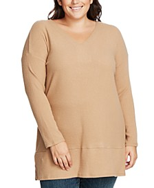 Plus Size Ribbed-Knit V-Neck Sweater