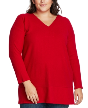 Vince Camuto Knits PLUS SIZE RIBBED-KNIT V-NECK SWEATER